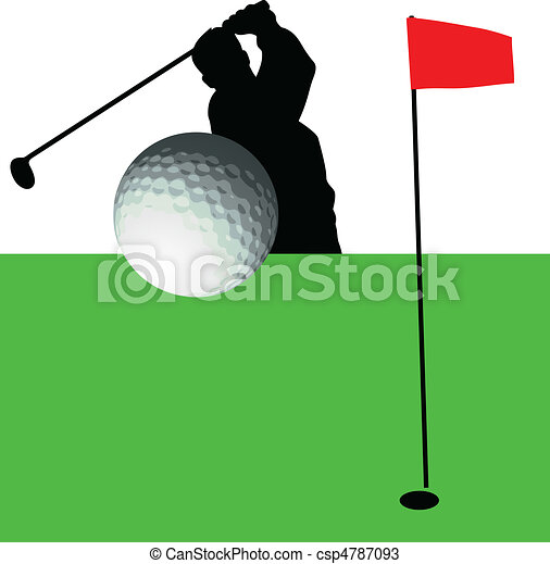 golfer in action vector silhouettes - csp4787093