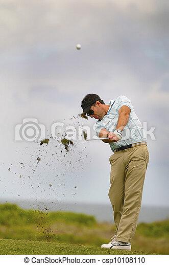 Golfer playing his shot - csp10108110