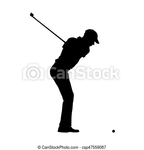 golfer profile side view of golf player vector silhouette csp47559087