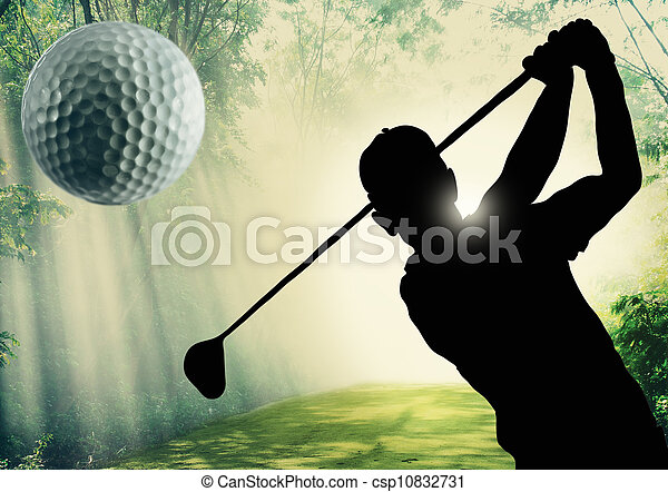 Golfer putting a ball on the green - csp10832731