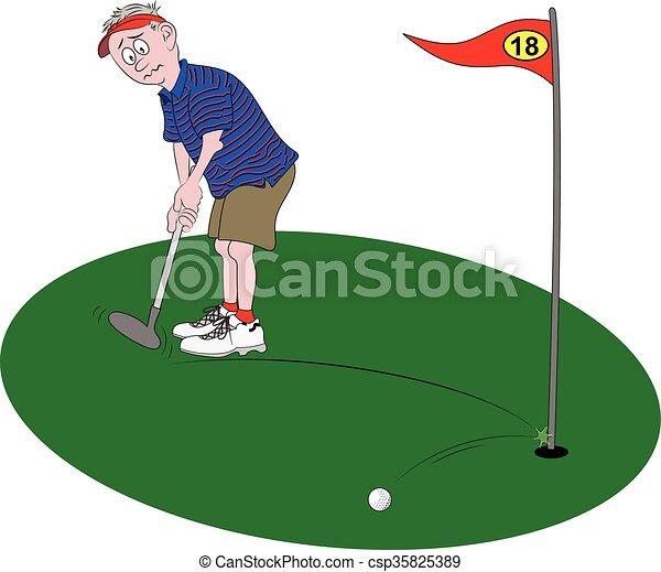 golfer putting. Vector cartoon illustration depicting a golfer ... on cartoon easy draw golf club, easy drawings to draw golf club, cartoon golf club bag, cartoon swinging golf club,