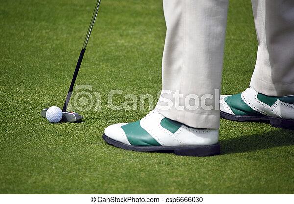 Golfer putting - csp6666030