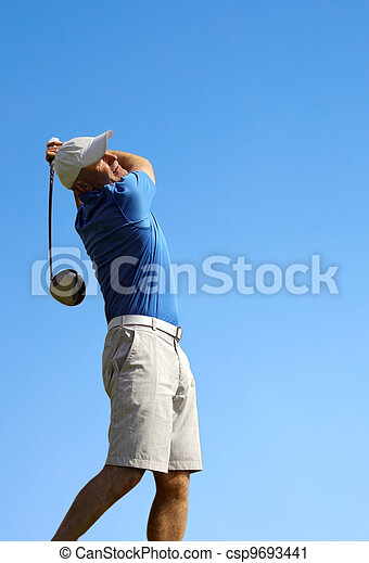 golfer shooting a golf ball - csp9693441