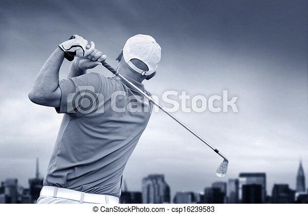 golfer shooting a golf ball - csp16239583