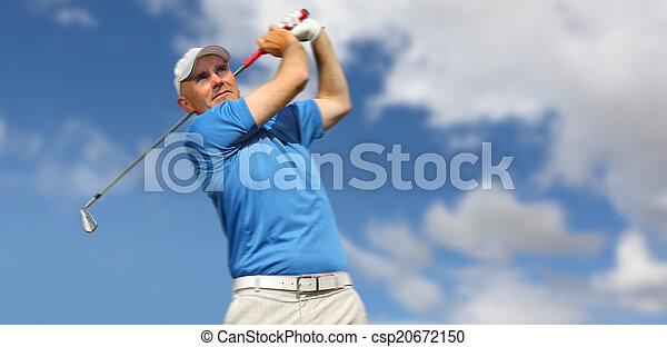 golfer shooting a golf ball - csp20672150