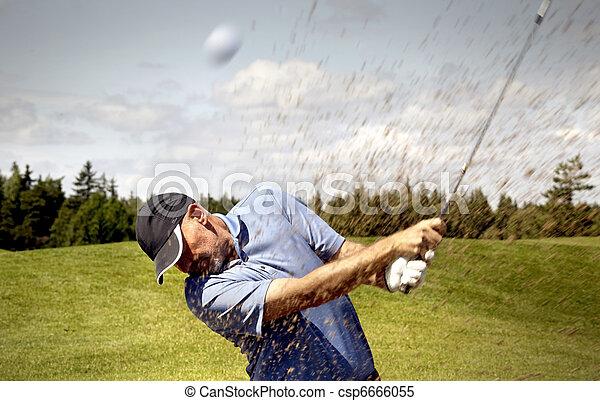 golfer shooting a golf ball - csp6666055