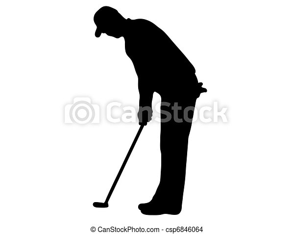 Golfer Silhouette Golfer Silhouette Isolated On White