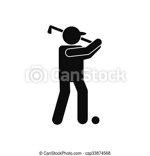 Golfer Silhouette Icon Golfer Silhouette Black Simple Icon Isolated