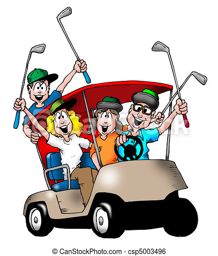 golfing family image of a family playing golf and riding stock rh canstockphoto com golf clip art free images golf clip art free images