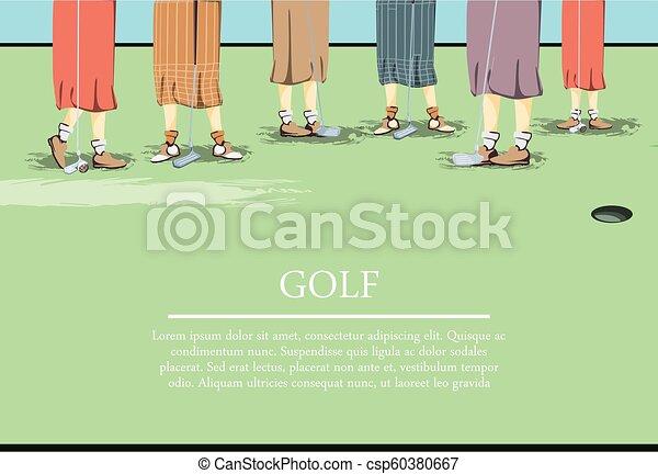 Las mujeres golfistas pisan el campo de golf - csp60380667