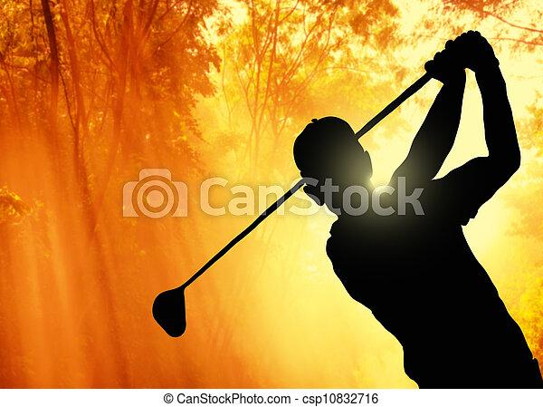 Golfer poniendo una pelota en el green - csp10832716