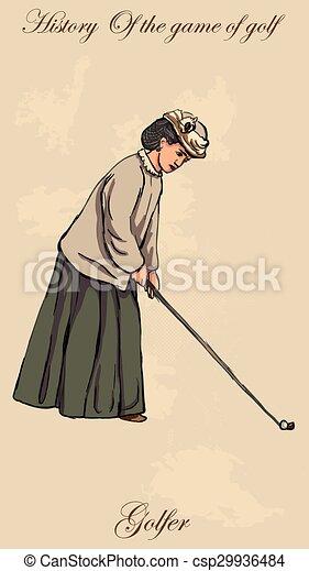 Vintage golfistas y golfistas - mano libre en vector - csp29936484