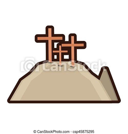 golgotha hill three crosses line - csp45875295