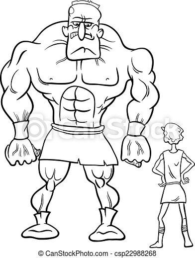 David y Goliath, libros de colorear - csp22988268