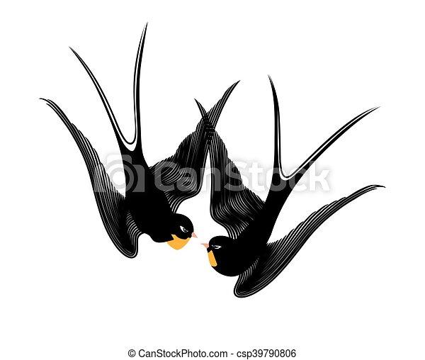 golondrinas, beso - csp39790806