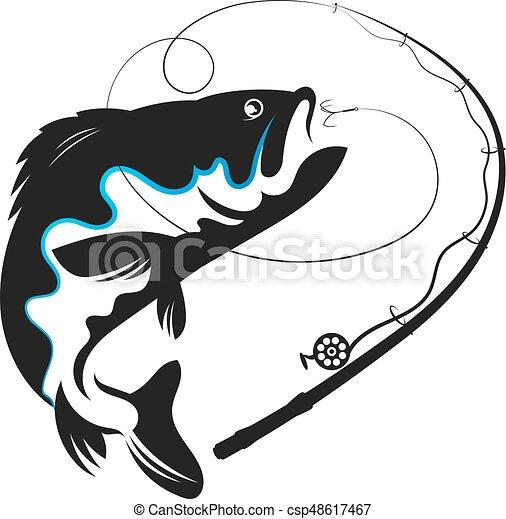 golondrinas, pez, vector, cebo - csp48617467