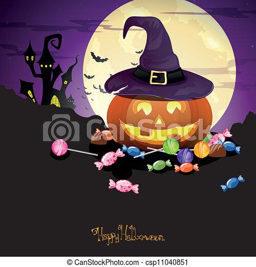 Vector Calabaza Halloween con caramelos - csp11040851