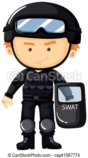 SWAT con traje negro de seguridad - csp41567774