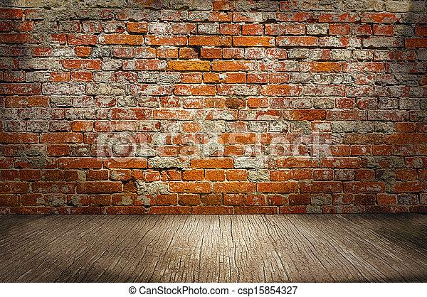 Golv, vägg, inomhus, trä, bakgrund, tegelsten, planka, röd ...