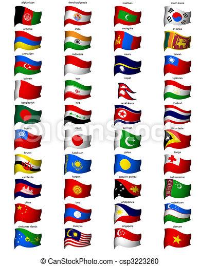 golvend, vlaggen, azie - csp3223260