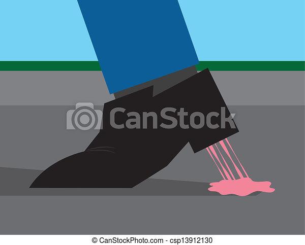 Un chicle pegado al zapato - csp13912130