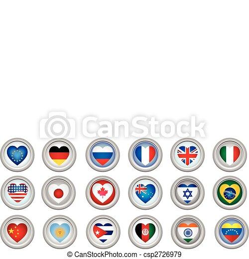 gombok, szív, zászlók, alakú - csp2726979