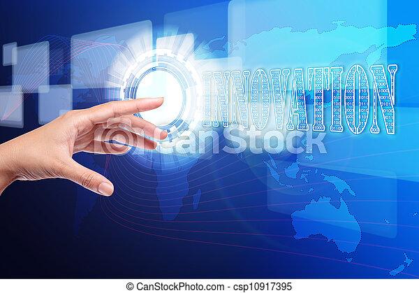 gombolódik tol, kéz, érint, újítás, határfelület, ellenző - csp10917395