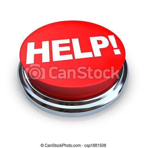 gombol, -, segítség, piros - csp1881508