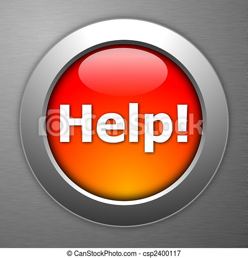 gombol, segítség, piros - csp2400117