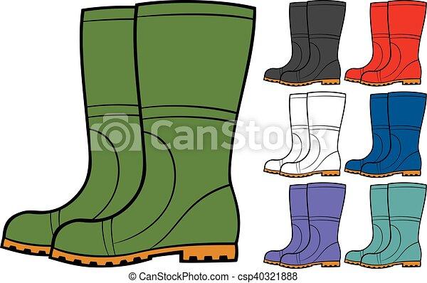 gomma, vettore, stivali, collezione - csp40321888