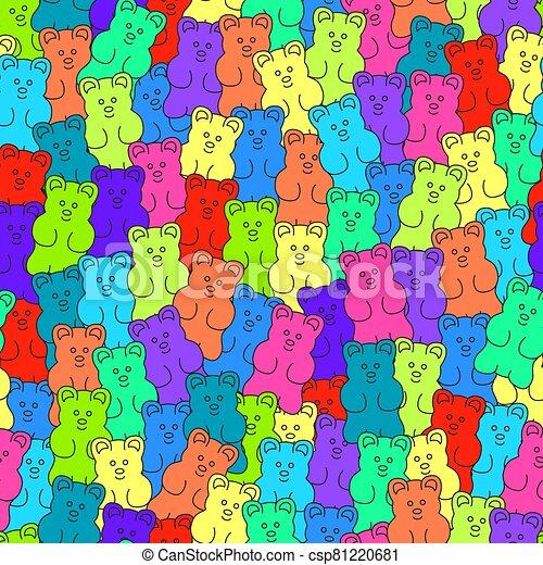 gomoso, golosinas, seamless, plano de fondo, vector, oso - csp81220681