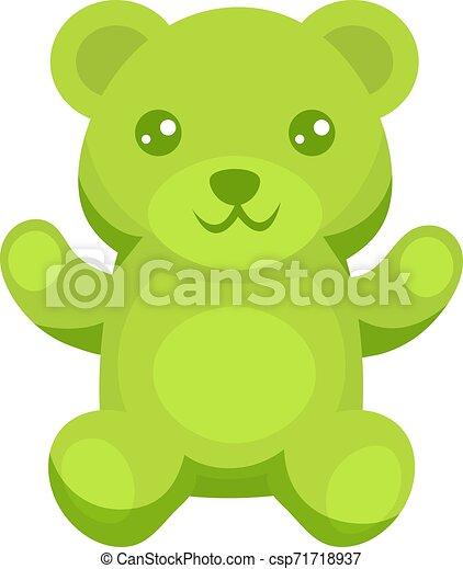 Oso gomoso verde, ilustración, vector de fondo blanco. - csp71718937