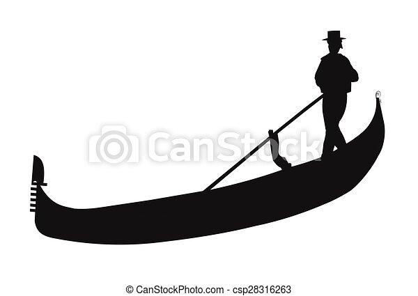 gondola in silhouette gondola with gondolier in silhouette rh canstockphoto com gondola boat clipart italy gondola clipart