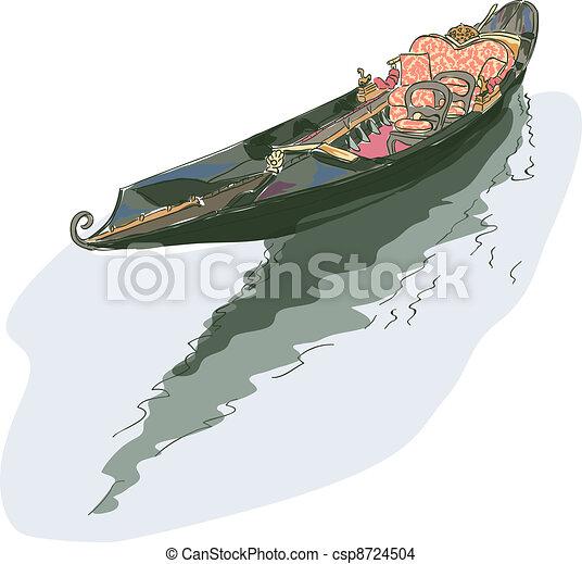Gondola. Watercolor style. - csp8724504