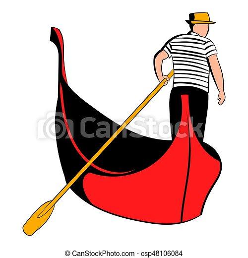 gondola with gondolier icon cartoon gondola with gondolier stock rh canstockphoto com free clipart gondola venice clipart gondola venice
