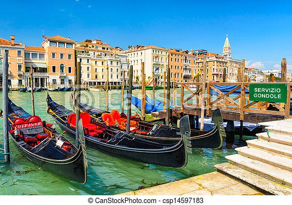 Gondolas on the Grand Canal, Venice - csp14597183