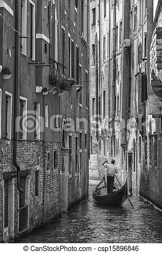 Gondoliere in venice italy black and white csp15896846