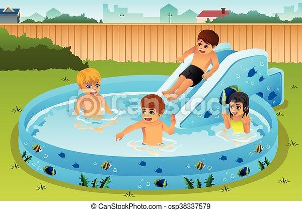 gonfiabile, bambini, stagno, gioco - csp38337579