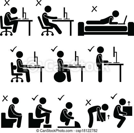 Good and Bad Human Body Posture - csp18122782