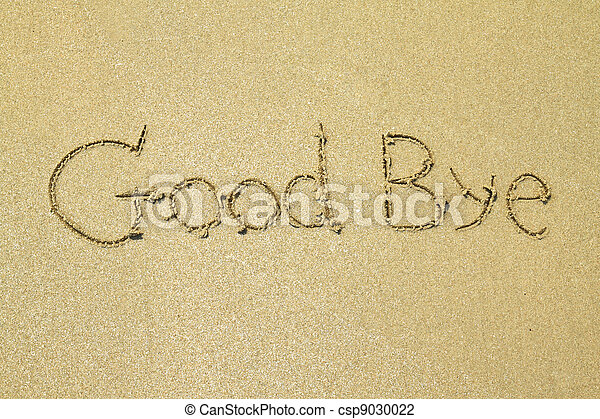 Good bye written in the sand at the beach  - csp9030022