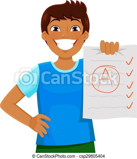 good grades happy kid presenting a test with a good grade rh canstockphoto com good clip art creating programs food clipart images