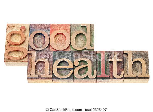 good health in wood type - csp12328497
