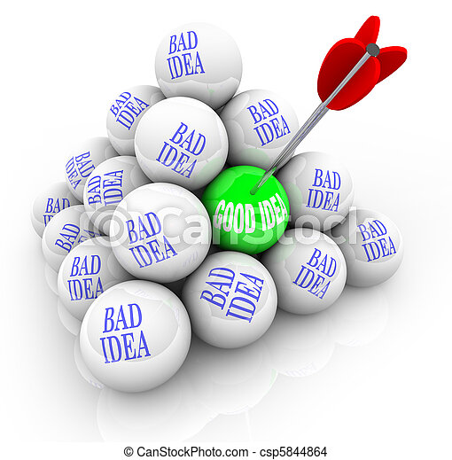 Good Idea vs Bad Ideas - Successful Creativity - csp5844864