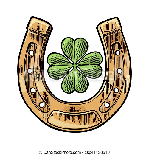 Good Luck Four Leaf Clover And Horseshoe Vintage Vector Engraving