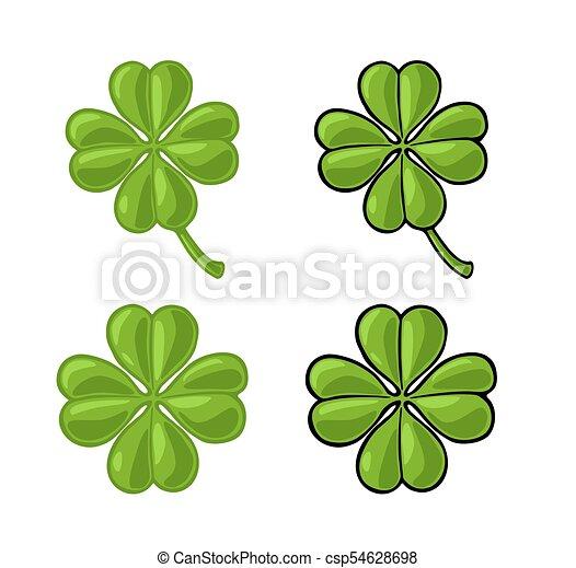 Good Luck Four Leaf Clover Vintage Vector Color Engraving Illustration For Info Graphic Poster