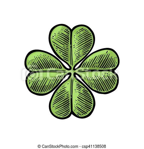 Good Luck Four Leaf Clover Vintage Vector Engraving Illustration For Info Graphic Poster Web