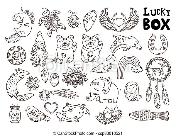 Good Luck Symbols Set Of The Lucky Charms Vector Illustration