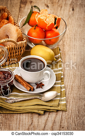 Good Morning Breakfast With Coffee And Fruits Tangerines Lemon And