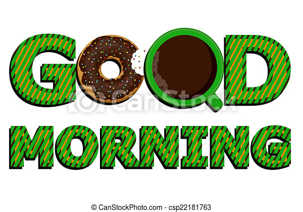 good morning coffee and donuts vector clip art vector search rh canstockphoto com good morning clip art funny good morning clip art coffee