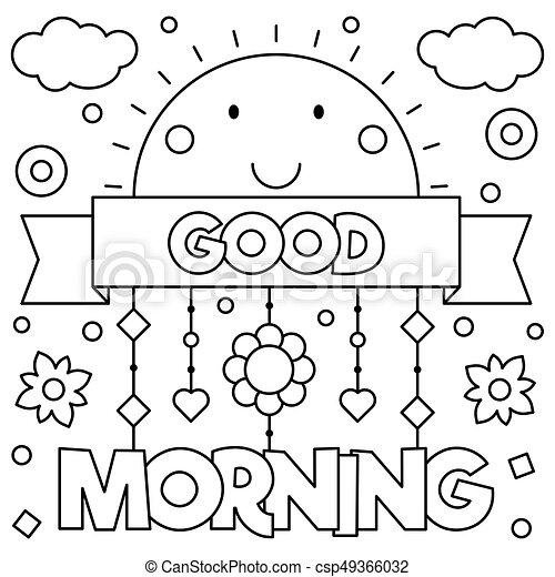 Good Morning Coloring Page Vector 49366032 on Cartoon Breakfast